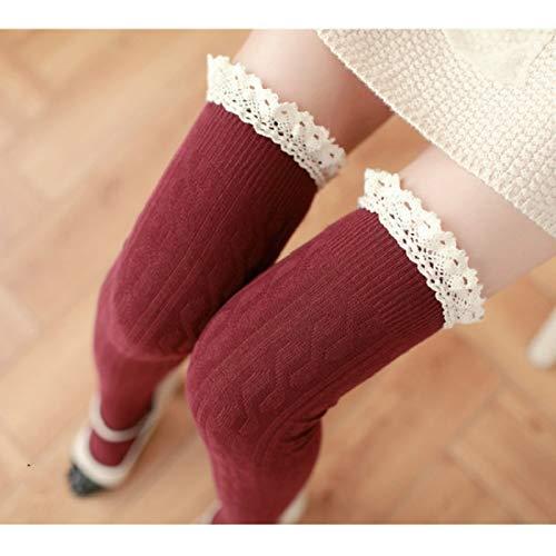 YAOLAN Calcetines Cordón de la Alta Rodilla del Tubo Largo Mujeres Calcetines, Tamaño: Un tamaño (Color : Red)