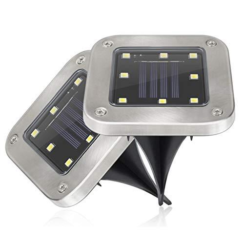 4 piezas Luces Solares para Exterior Jardin, LED Lámpara de pie 8 LED Luz Enterrada Impermeable Lámpara Solar Foco Empotrado Inoxidable para Path Way Garden Lawn Yard (Color : Warm White)