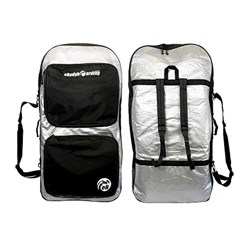 eBodyboarding Double Padded Reflector Bag - Wet/Dry Bag | Day use Sponge Sack | Silver with Black Pockets