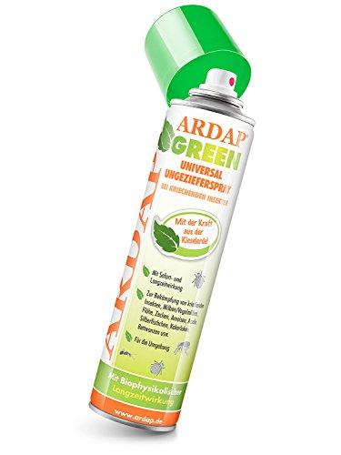 ARDAP GREEN Spray 400ml - Natürliches Ungeziefermittel mit Kieselgur, Hocheffektiv gegen Rote Vogelmilben & kriechende Insekten