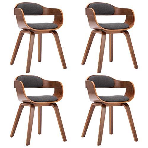 vidaXL Bugholz Esszimmerstuhl mit Armlehne Küchenstuhl Stuhl Essstuhl Sessel Wohnzimmerstuhl Lehnstuhl Polsterstuhl Dunkelgrau Stoff
