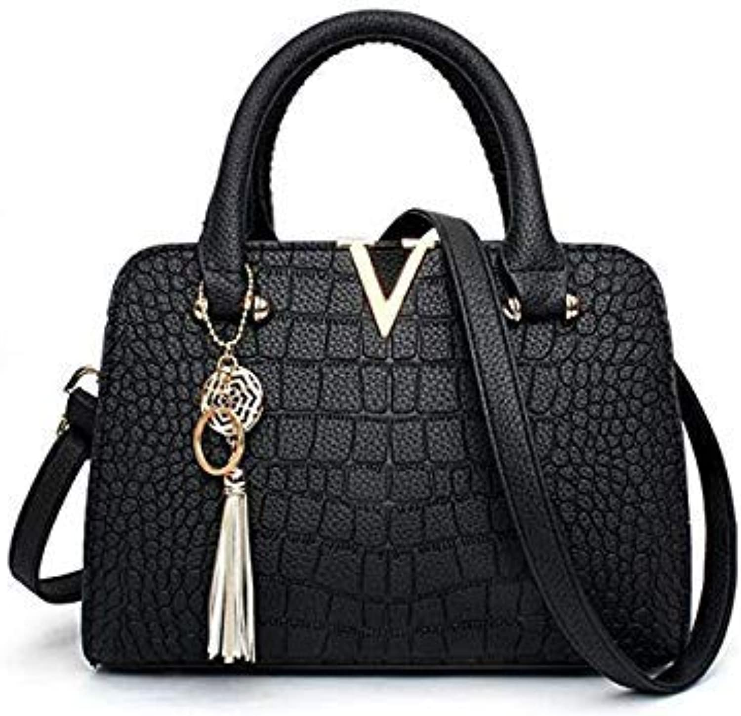 Tassel Fashion Women Handbag Bag Handbags Women Messenger Bags Crossbody Shoulder Bags Ladies Leather Handbag sc0411 color Black Size 28X12X20CM