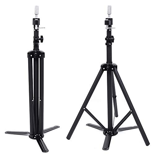Gabrielle Canvas Head Metal Tripod Stand for Wigs and Mannequin Heads - Adjustable Height - Stable Frame - Portable and Canvas Wig Headband with Carry Bag (Black) (wig tripod stand, Black)