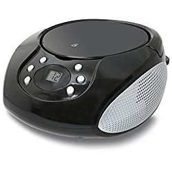 GPX, Inc. Portable Top-Loading CD Boombox with AM/FM Radio and 3.5mm Line In for MP3 Device - Black,GPX, Inc.,BC112B