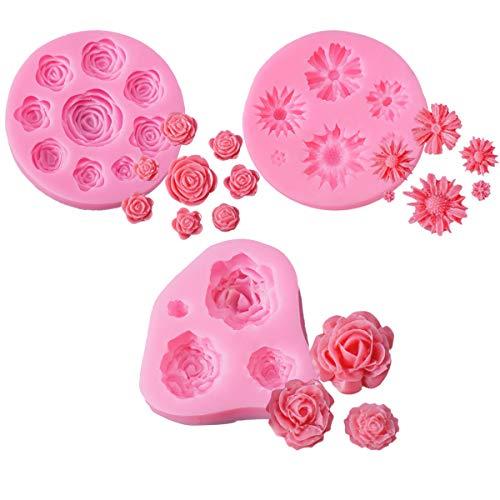 Lot de 3 moulle silicone fleur, VÉZAAR gâteau Fondant Moules roses marguerite Outils de modelage pour pâtisserie pour Jelly Sucre Candy Chocolat Décoration de gâteaux