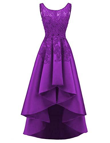 HUINI Elegant Abendkleider Ärmellos Spitzenkleider Vintage Cocktail Partykleider Wadenlang Satin Brautkleider Hochzeitskleider Purpur 50