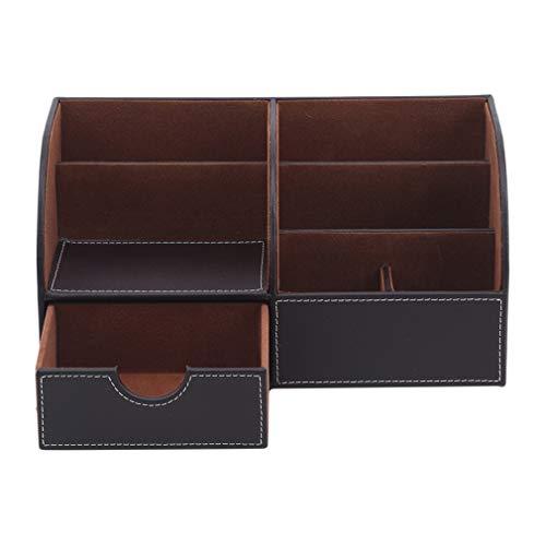 SUNSKYOO Großraum-Schreibtisch-Schreibwaren-Organizer PU-Lederstift-Aufbewahrungsbox für den Home-Office-Gebrauch,Braun