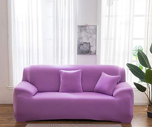 Funda Elástica de Sofá Cubre Antideslizante/Protector Ajustables de Sofá, Decorativas Fundas Color sólido Violeta para Sofas, con Cuerda de Fijación (2 Plazas:135-170cm) +2 Fundas de Almohada