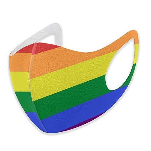 Unisex Gesichtsabdeckung, verstellbar, Anti-Staub-Mundschutz, waschbar, wiederverwendbar, für Radfahren, Camping, Reisen, LGBT Pride Regenbogen-Flagge