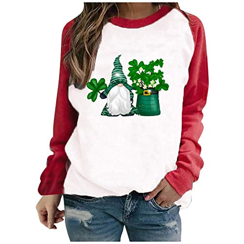 Whyeasy Women's Long Sleeve Tops, Womens Cute Green Leaves Graphic Printing Casual St. Patrick's Day Blouses Tops Shirts(Red #01,XXL)