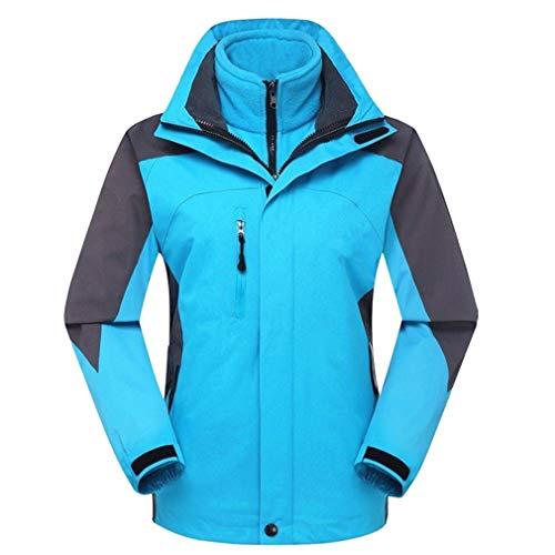 CIKRILAN Damen 3in1 Fleece Lined Waterproof Windproof Hooded Jacken Lady Insulated Camping Hiking Skiing Coat(L, Light Blue)