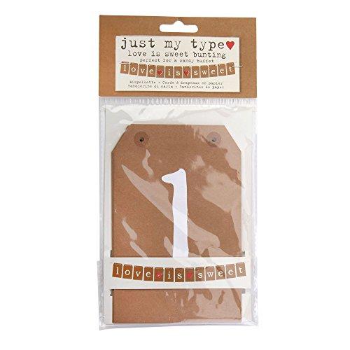 Neviti Just My Type Guirlande de fanions en Papier Marron 15,5 x 10 x 0,1 cm