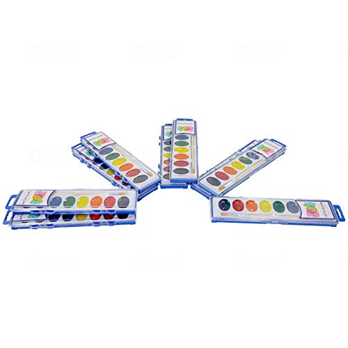 Color Swell Watercolor Paint 10 Pack with Wood Brushes 8 Washable Water Colors Perfect for Kids, Adults, Parties, and Classrooms