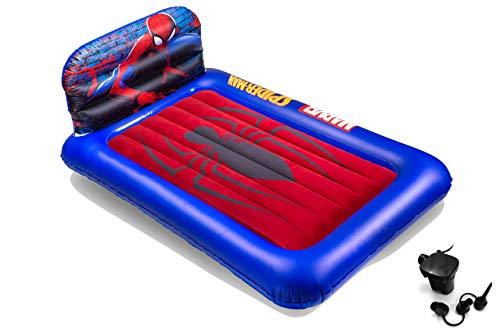 Living iQ Inflatable Kids Headboard Travel Air Bed Mattress (Electric Pump) (Spider-Man)
