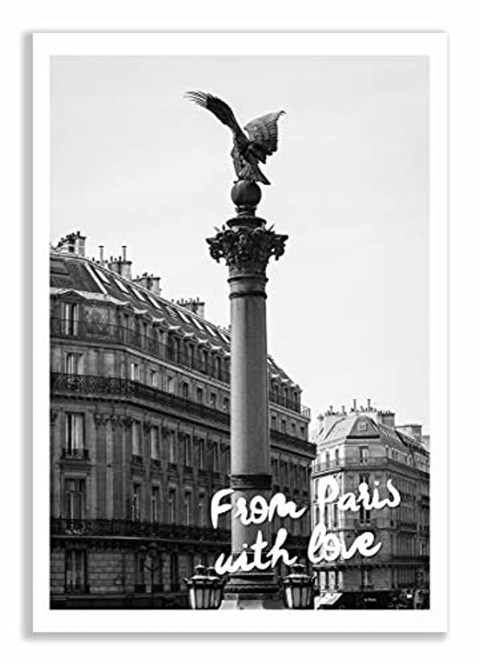 from Paris with Love Satin Black Aluminium Frame with Mount, Multicolored, 40x60