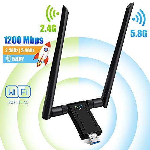 PiAEK Adattatore Antenna WiFi USB3.0 1200Mbps 802.11 AC WiFi Dongle Dual Band Antenna 5dBi (5.8G/867Mbps+2.4G/300Mbps) Ricevitore WiFi per PC Laptop Windows 10/7/8/XP/Vista Linux Mac OS