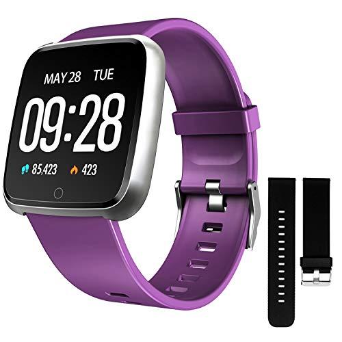 ZKCREATION Smartwatch,Fitness Armbanduhr Fitness Uhr Wasserdicht Fitness Tracker Sportuhr mit Schrittzähler Pulsuhren Stoppuhr für Damen Herren Smart Watch für iOS Android Handy