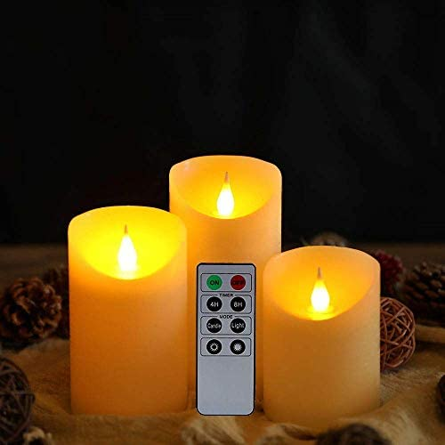 JHY DESIGN 3D Flameless Candles Set 4/5/6inch High Real Wax Battery Candle Pillars Flickering LED Candles with 8-Key Remote Control Timers for Home Wedding Party Christmas Decoration (Set of 3)