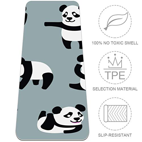 rdsworth Toby Multi Action Baby Panda Yoga Mat, TPE Oefening Fitness Mat, 1/4inch Dikke Niet Slip Pilates Mat met Draagband voor Yoga, Gym en Vloer Oefeningen,24x72 in
