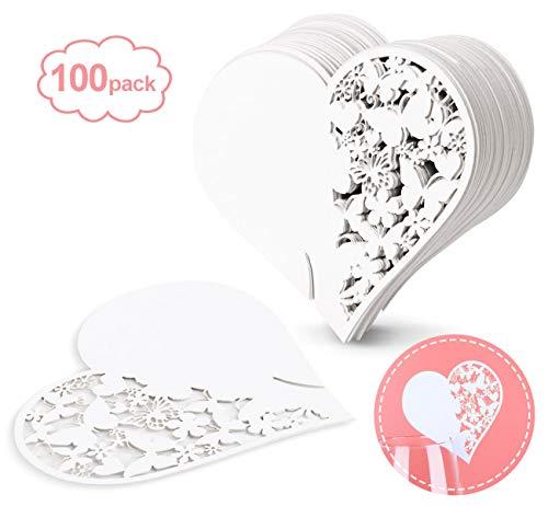 ABSOFINE 100x Schimmer Weiß Laser Cut Schmetterling Herz Tischkarten Namenskarten Glasanhänger Weinglas Hochzeitsfeier Champagnerglas Deko Gastgeschenk (Herz)