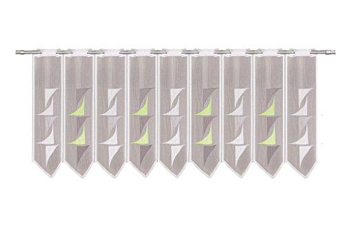 Tenda della Finestra Astratto Altezza 45 cm | può Scegliere la Larghezza in segmenti da 30 cm, Come Vuole | Colore: Bianco; Verde; Grigio | Tendine Cucina