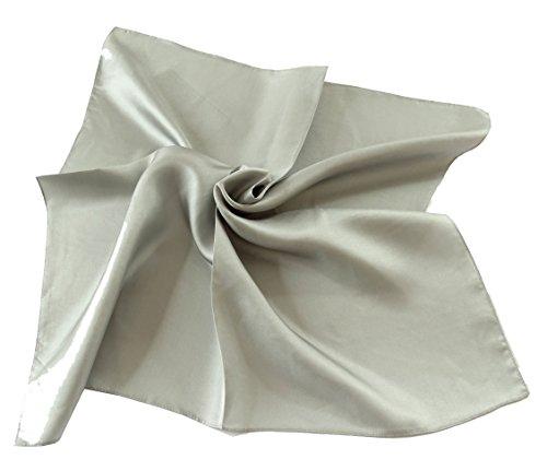 PB Pietro Baldini Halstuch grau - 100% Seide - Damen Schal - Tuch für Damen - Kopftuch - Nickituch (Grau)