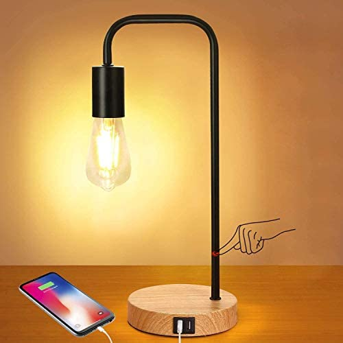 3 Way Touch Control Dimmable Table Lamp with 2 USB Charging Ports AC Outlet Vintage St64 E26 product image
