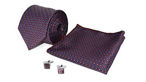 Kanthlangot Herren Jacquard Lila Selbstdesign Krawatte Einstecktuch und Manschettenknöpfe Rot Lila