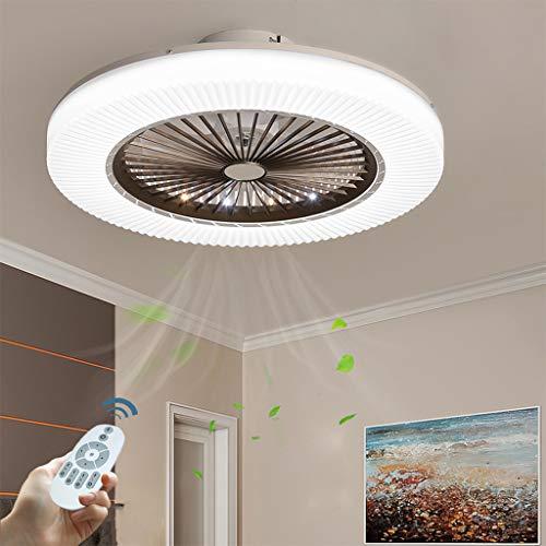 Ventilador De Techo LED 90W Luz Del Ventilador Invisible Plafon Con Iluminación Control Remoto Luces Regulable Silenciosa Sala Habitación De Niños Dormitorio Comedor Lámpara De Araña De Ventil