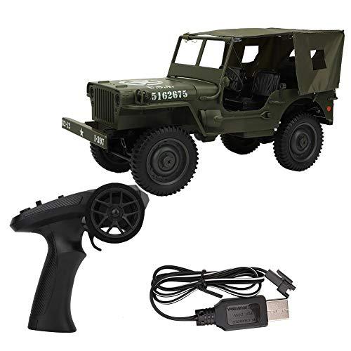 Nannday Camión de Control Remoto, Escala 1/10 2.4GHz RC 4WD Vehículo de Escalada Militar para vehículos con Cable de Carga USB, Regalos de cumpleaños para niños(1#-Verde)