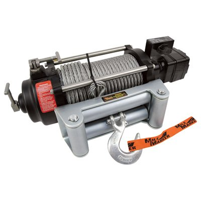 Mile Marker HI-Series 12 Volt DC Powered Hydraulic Truck Winch - 10,500-lb. Capacity, Galvanized Aircraft Cable, Model Number HI10500