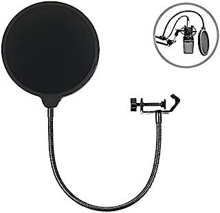 Micrófono profesional Máscara de filtro de filtro de pop, pantalla pop de viento de doble capa con un brazo de cuello de c...
