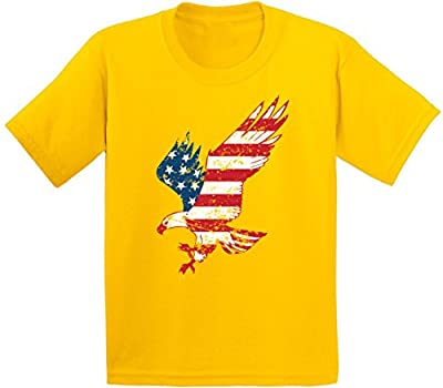 Awkward Styles Youth USA Flag Eagle Patriotic Youth Kids T Shirt Tops Independence Day Gift 4th of July Yellow S