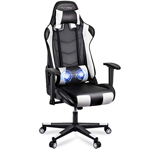 MOTPK Gaming Chair with Massage, Racing Style Ergonomic Computer Video Chair, High Back Lumbar Support Height Adjustment Headrest and Adjustable Lumbar Cushion E-Sports Swivel Chair, White