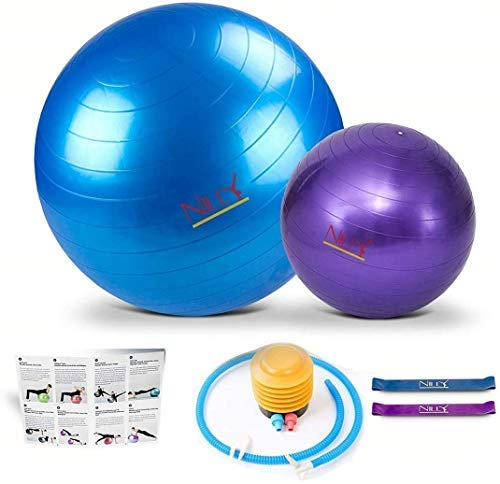 Yoga and Pilates Exercise Ball – 2 Pack Fitness Balls for Home & Gym Workouts – 65cm and 30cm Big and Small Yoga Balls Set – Comes with 2 Elastic Stretch Bands – Perfect for Stability and Stretching