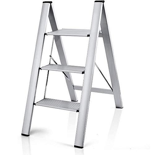 Aluminum Folding 3 Step Ladder with Lightweight & Slim Design | Anti-Slip Rubber Feet | Wide Pedals...