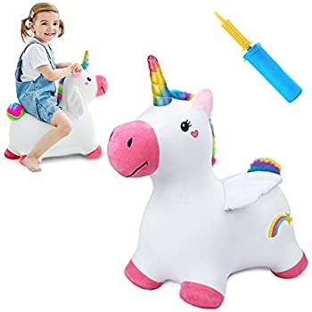 iPlay iLearn Bouncy Pals Unicorn Hopping Horse Plush Outdoor n Indoor Ride on Animal Toys Inflatable Hopper Activity Riding Birthday Gift for 18 Months 2 3 4 Year Old Kid Toddler Girl W/ Pump