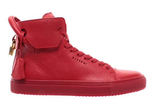 BUSCEMI Herren Schuhe Sneakers Rot Leder Gold 125MM