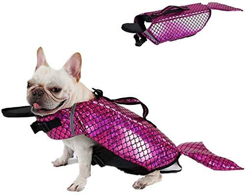 FR&RF Chaleco salvavidas para perro, chaleco salvavidas de sirena, salvavidas para mascotas, dispositivo de seguridad para piscina, playa, barco, rosa, XL