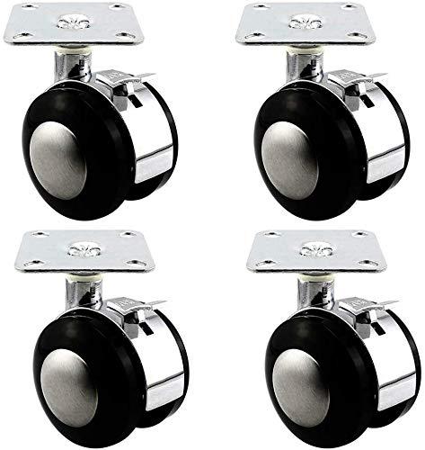 DGDG Ruedas 4 x 1.5/2 Pulgadas de aleación de Gabinete móvil Vector Y Silla Ruedas - Muebles silencioso giratoria con Freno/con Tornillos (Size : 1.5 Inches)