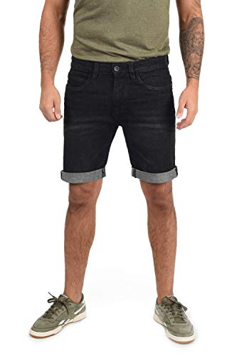 Indicode Quentin Herren Jeans Shorts Kurze Denim Hose Mit Destroyed-Optik Aus Stretch-Material Regular Fit, Größe:M, Farbe:Black (999)