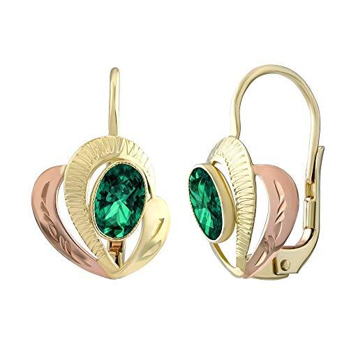 SILVEGO Damen Ohrringe aus Gelb- und Rotgold 14 Karat (585) mit echtem grünem Topas Swarovski® Gemstones