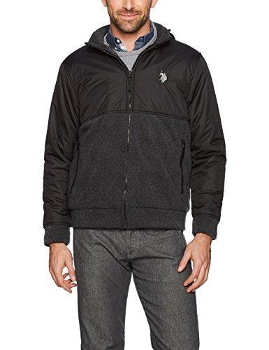 U.S. Polo Assn. Men's Standard Colorblock Sherpa Lined Fleece Hoodie, Dark Heather Grey 5914, M