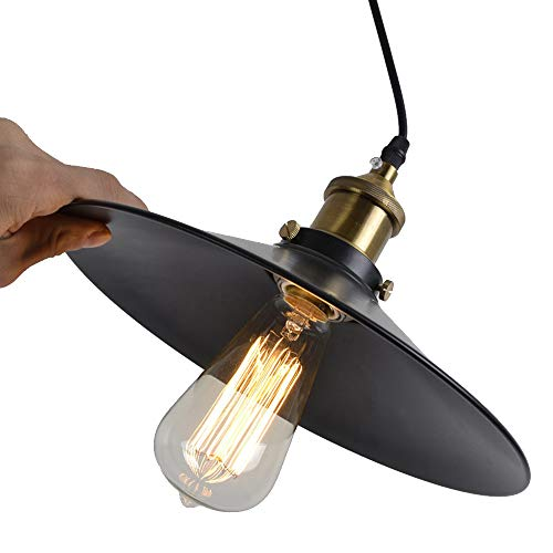 E27 Vintage Kronleuchter Retro Edison Loft Pendelleuchte, Retro Industrielle Deckenleuchte Lackiertem Eisen Regenschirm Lampenschirm Land Art Lampe Kronleuchter (22cm)