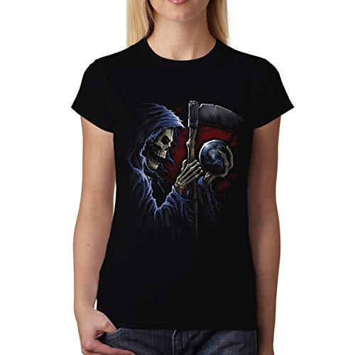 avocadoWEAR Parca Guadaña Esfera Mujer Camiseta Negro S