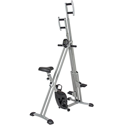 Best Choice Products 2-in-1 Total Body Vertical Climber Magnetic Exercise Bike Machine - Black/Gray