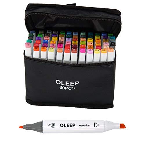 OLEEP 80 colori- Pennarelli a doppia punta, con custodia per il trasporto, per evidenziare e sottolineare