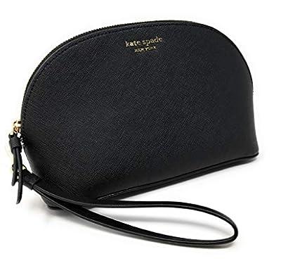 Kate Sapde New York Medium Dome Cosmetic Make-Up Leather Clutch Bag Wristlet Black