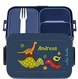 wolga-kreativ Brotdose Lunchbox Bento Box Kinder lustige Dinos mit Namen Mepal Obsteinsatz für Mädchen Jungen personalisiert Brotbüchse Brotdosen Kindergarten Schule Schultüte füllen