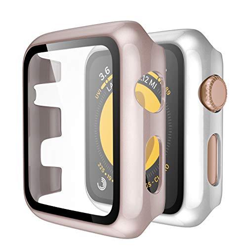 Upeak Kompatibel mit Apple Watch Series 3/2/1 Hülle mit Panzerglas 38mm, 2 Stücke Hart PC Schutzhülle Case Compatible with iWatch 1 2 3, Glänzend Silber/Glänzend Roségold